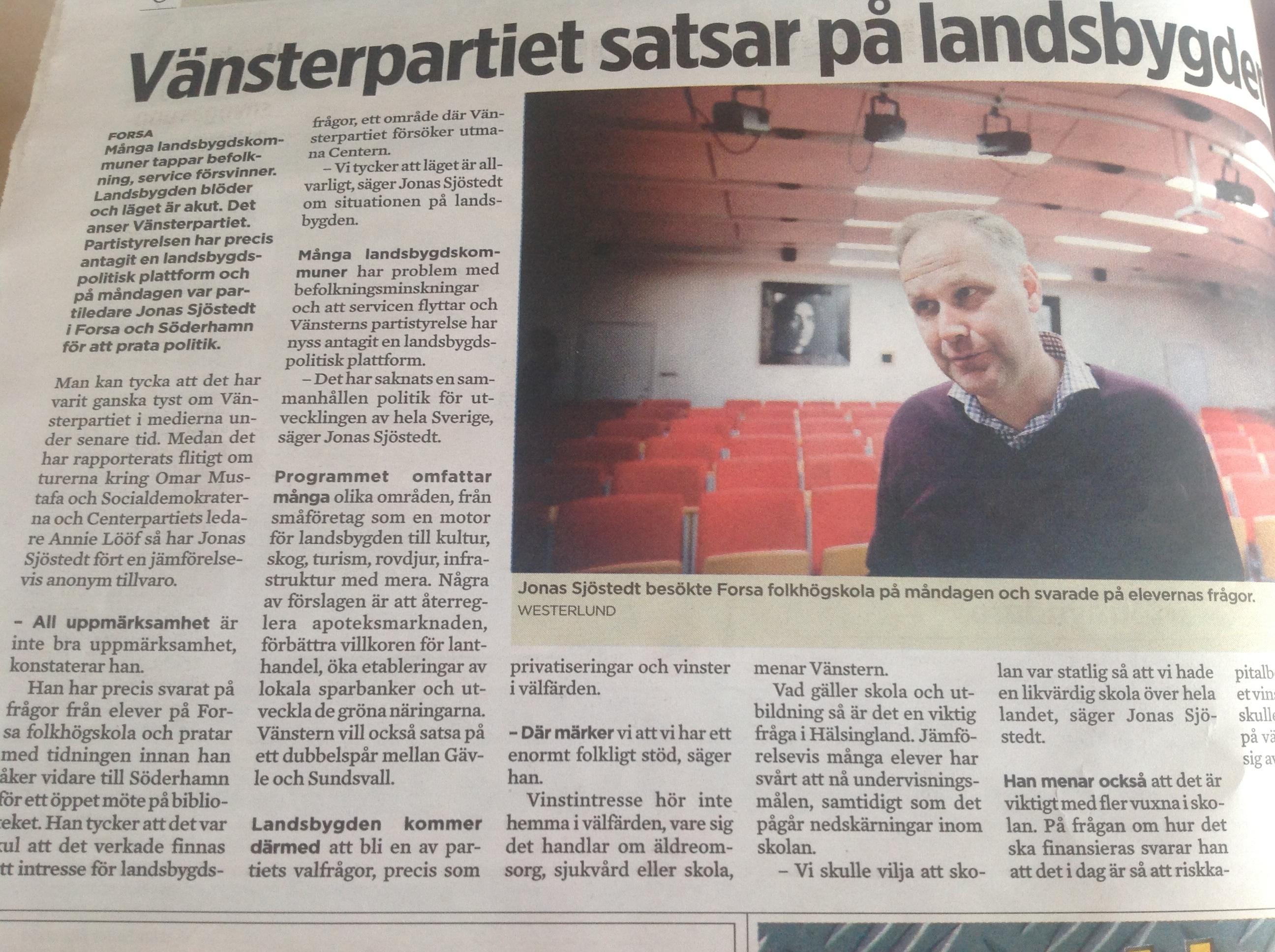 Ht-artikel om Sjöstedts besök