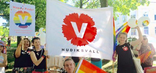 Prideparad 2015. I Rådhusparken, Hudik. Människor i V-tröjor och V-banderoll och prideflaggor.